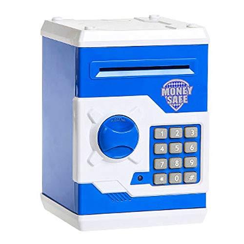 YINGZI Hucha Electronic Piggy Bank ATM Password Money Box Cash Monedas Saving Box ATM Bank Automático Caja Fuerte Billete de depósito for niños Niño para niño (Color : Blue White)