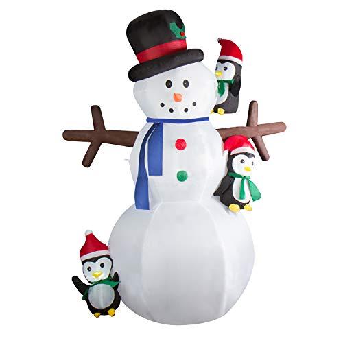 CCLIFE Led Schneemann Beleuchtet Aufblasbar snowman outdoor Außenbereich Schneemänner Weihnachtsbeleuchtung weihnachtsdeko Weihnachtsfigur, Farbe:Weiß006-240cm