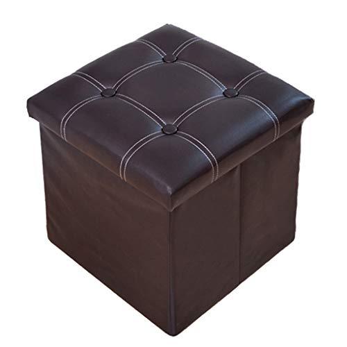 Ottoman Wddwarmhome PU Boîte de Rangement Pliable Tabouret de Rangement ménage -38 * 38 * 38cm - Capacité de Charge Maximum 150kg - Facile à Nettoyer (Couleur : Brown)