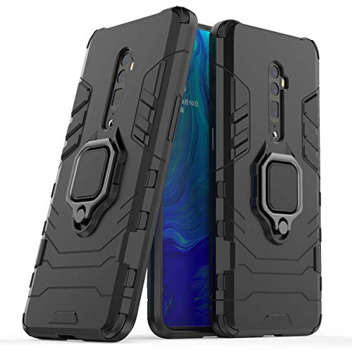 FanTing Case for Oppo Reno 10x zoom, Rugged and shockproof,with mobile phone holder, Cover for Oppo Reno 10x zoom-Black