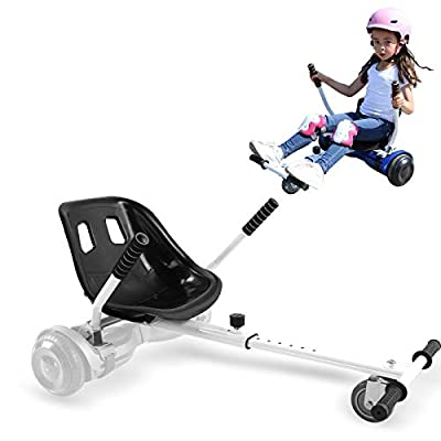 Hishine Hoverboard Seat Attachment Fits Self Balancing Scooter, Hoverboard Attachments for All Ages, Go Cart Frame (White)