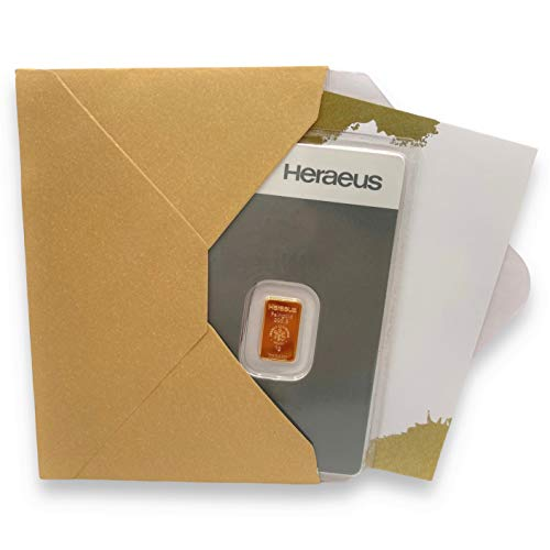 Goldbarren 1g Heraeus - 999.9 Feingold - inkl. Geschenkverpackung und Grußkarte (1g Gold)