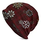 Multi Snowflakes On Red Tartan Plaid Beanie? Hat? Soft? Stretch? Slouchy? Skully? Knit? Cap? Hip-Hop? Sleep? Cap? For? Men? Y? W