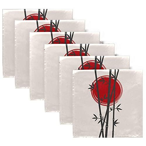 Servilletas de Tela Servilletas de bambú de Japón y Sol Rojo, Juego de 6, servilletas de Mesa Reutilizables para cócteles, Fiestas, Bodas, hogar, decoración