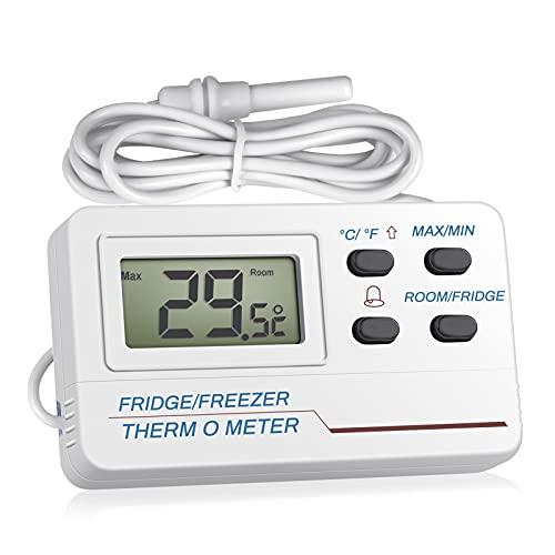 Termómetro Didital Termómetro para nevera y congelador, Welltop 2 en 1, termómetro de habitación con sonda externa fácil de leer pantalla LCD Función de alarma para el hogar cocina SP-E-16