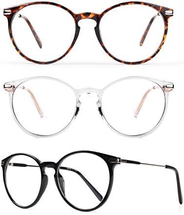 Baytion Blue Light Blocking Glasses 3Pack Computer Game Glasses Retro Round Eyeglasses Frame product image