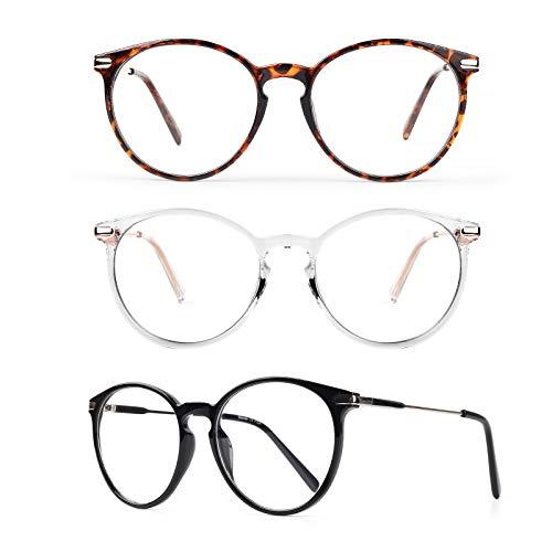 3 Gafas Anti Luz Azul Mujer Hombre - Baytion Gafas Filtro Azul Para Computadora Para PC y TV Con Marco TR90 Protección 100% UV, Sin Receta y Ati Fatiga Visual ⭐