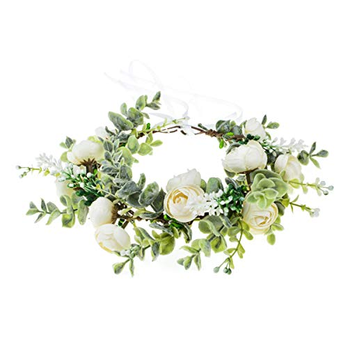 Vividsun Wedding Bridal Green Leaf Flower Crown Eucalyptus Floral Crown Maternity Photo Props (A/White)