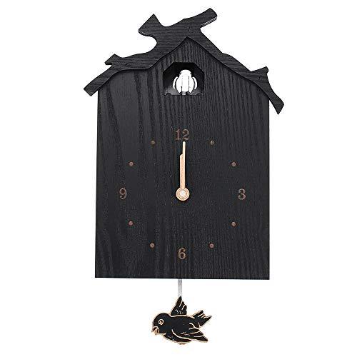 DIYARTS wandklok zwart vogelhuis antiek hout minimalistische koekklok creatieve schommel vogel wandklok voor huis kantoor decoratie