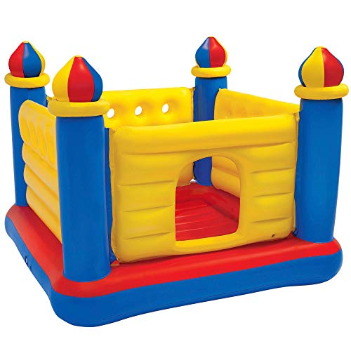 Intex 57134 - Castillo hinchable para 2 niños, 175x175x135 cm, peso máximo 45 Kg, amarillo azul y rojo