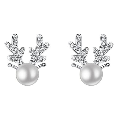 Pendientes De Pernos De Reno Lindo Pearl Ear Pachas Aleación Ear Joyería Regalo para Mujeres Chicas Blanco 1 Papair
