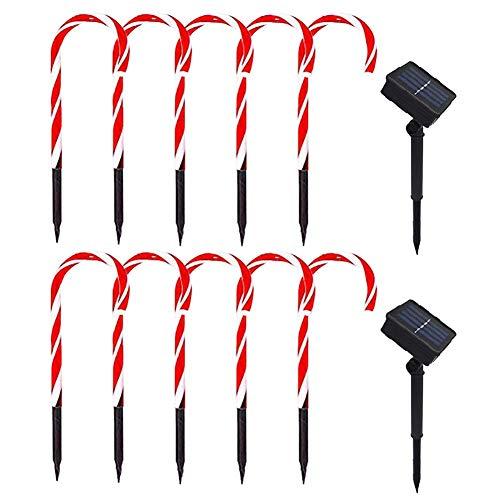 Navidad Caña Luces, 10 Paquete Solar Bastón de Caramelo Luces Vía Marcadores...