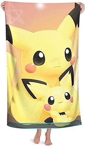 QWAS Toalla de playa Pokémon Pika-chu, impresión 3D, perfecta apariencia, tamaño perfecto, adecuada para viajes, spa (Pokémon, 2,75 x 150 cm)
