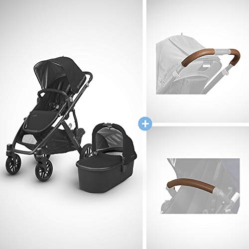 Best Review Of UPPAbaby Vista Stroller - Jake (Black/Carbon/Black Leather) + Vista Leather Handlebar...