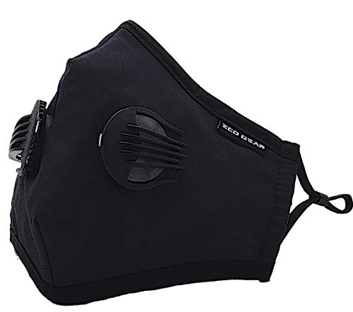Anti Pollution Face Mask Eco-Gear Particulate Respirator Protection | Anti Dust, Exhaust Gas, Smoke, Pollen and Fumes | Washable with 2 Filters Indoor and Outdoor