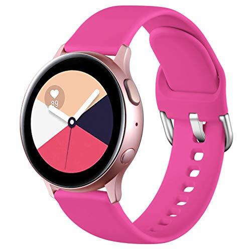 Wepro Correa Compatible con Samsung Galaxy Watch Active/Active2 40mm 44mm, Correa de Repuesto de Silicona Suave para Samsung Galaxy Watch 42mm/Watch 3 41mm/Gear Sport, Pequeño Rosa Roja