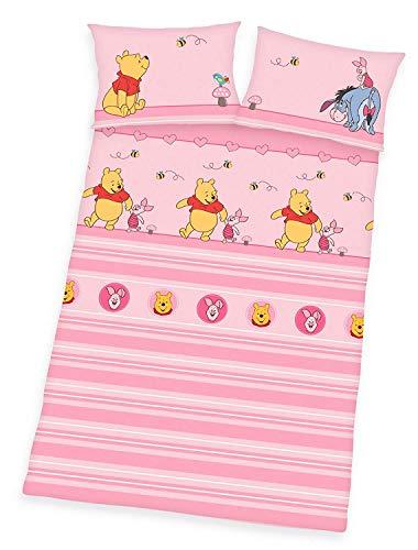 Herding Beddengoedset Winnie Pooh, katoen, roze, 135 x 100 cm