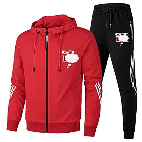 Conjunto de chándal para hombre, chaqueta con capucha con cremallera completa + pantalones de bolsillo, traje casual de 2 piezas M-3XL Rojo-M