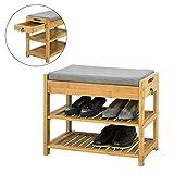 SoBuy FSR49-N Schuhbank mit Sitzkissen und Schublade Sitzbank Schuhregal Bambus
