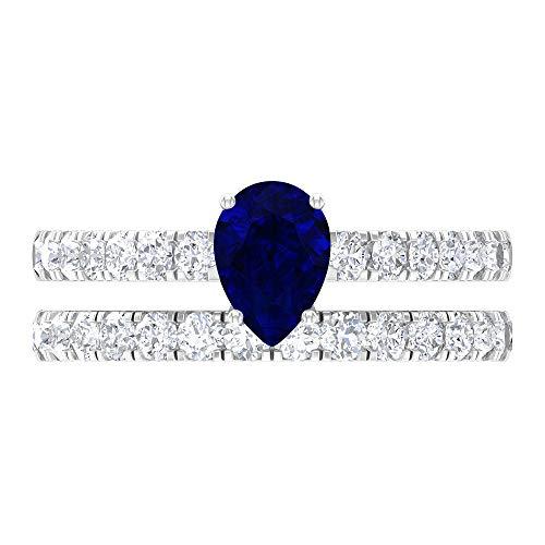 Anello solitario da sposa, con gemme da 1,68 ct, Moissanite D-VSSI 5 x 7 mm, anello a forma di pera con zaffiro blu, anello cattedrale in oro, fede nuziale Eternity, 14K Oro bianco, Size:EU 64
