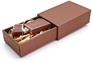 Maple Wood Antique 8GB Flash Drive - Natural Eco USB 2.0 8 GB Thumb Drive - Stained Royal Burgundy - Inserted into a Super Strong hand made sliding box with Raffia grass inside