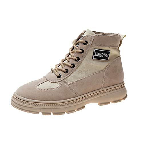 Deloito Damen Retro Chelsea Ankle Boots Britischen Stil Kurze Stiefel Freizeit Atmungsaktive Schnürung Stiefeletten Dicker Flacher Boden Schuhe (Beige,39 EU)