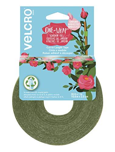 VELCRO Brand VEL-30089-AMS Breite Gartenbinder für kräftige Rosen, Sträucher und große schwere Pflanzen, die zusätzliche Unterstützung benötigen, 2,5 cm x 10,7 m Rolle, grün - recycelter Kunststoff