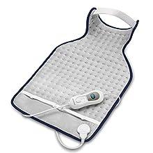 ecomed HP-46E Almohada eléctrica para el cuello, almohada eléctrica de 3 fases, almohada eléctrica para la espalda con protección contra sobrecalentamiento, desconexión automática, lavable