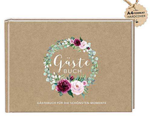 DIN A4 GÄSTEBUCH (Hardcover) Hochzeit • KRAFTPAPIER OPTIK BRAUN MATT mit Rosenkranz GRÜN WEIß...