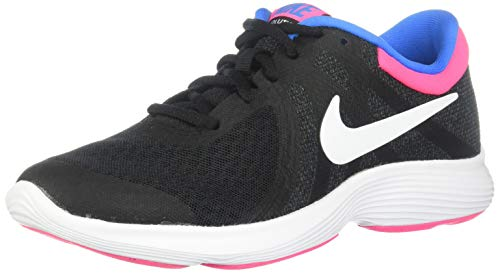 Nike Girls Revolution 4 (GS) Sneaker, Black/White - Anthracite - Hyper Punch, 7Y Youth US Big Kid