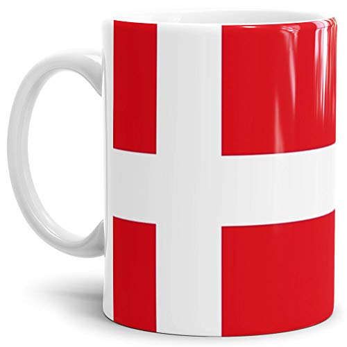 Tassendruck Flaggen-Tasse/Souvenir/Urlaub/Länder-Fahne/Kaffetasse/Mug/Cup - (Dänemark, Normal)