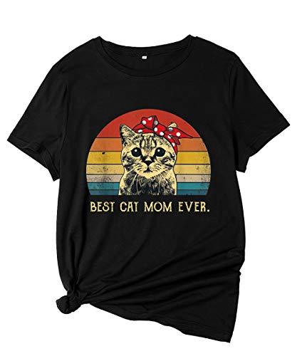 Camisetas Mujer Verano Manga Corta Basicas Estampadas Graciosas Gata con Frases Tops Negro Camisetas Algodon Los Suaves Dibujos Animados Camisetas Dia De La Madre Divertidas Retro Casual Camisetas