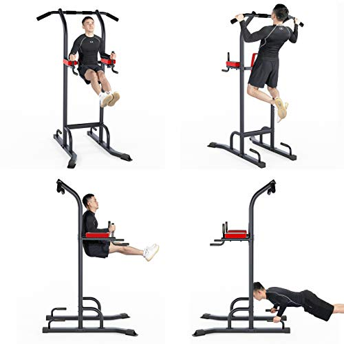 sogesfurniture Tower Pull Up and Dip Station Multi-Function Home Strength Training Power Tower Dip Station Pull Up Bar for Home Gym Strength Training Workout Equipment BHCA-SJ-700