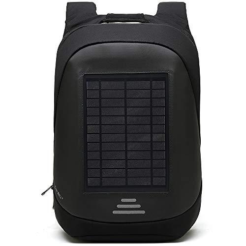 Sac à Dos pour Ordinateur Portable à Chargement Solaire Sac à Dos Décontracté De 15 6 Pouces avec Sac De Chargement USB pour Voyage d'affaires Et Anti-vol,Black