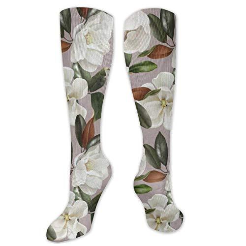 Lindas Magnolias Vintage Flores Hojas Novedad Cool Dress Crew Calcetines, Comfort Compression High Tobillo Calcetines 2 Pares