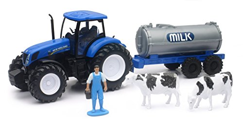 New Ray–Tractor New Holland t7.270+ Cisterna a Leche con 1Personaje y 2Vacas, 05523a, Verde