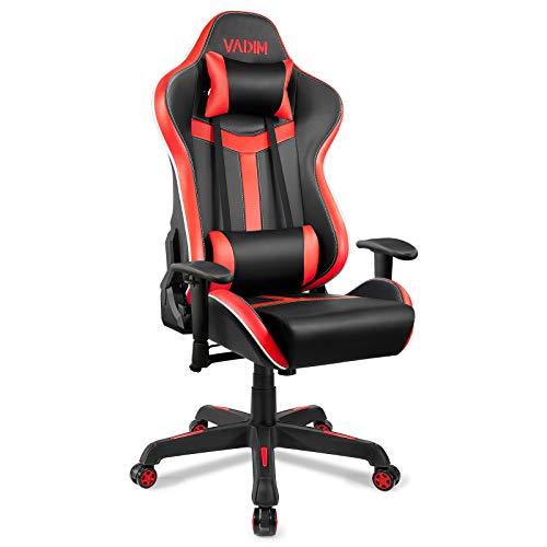 VADIM Ergonomischer Gaming Stuhl Bürostuhl, Größer PC Gamer Stuhl mit Kopfstütze Lendenstürtze Höhenverstellbare, Belastbarkeit 150kg, Schwarz