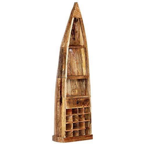 Festnight Weinregal 50 x 40 x 180 cm (B x T x H) Mangoholz Massiv mit 16 Flaschenfächern, 1 Schublade und 3 Ablageflächen