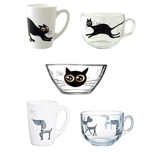 Luminarc Mistigri-Mabrouk Set 5 tazas desayuno mugs originales tazones infantiles de vidrio para microondas, Negro