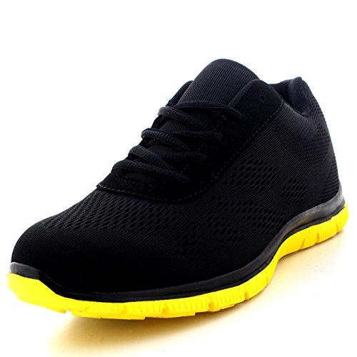 Mujer Get Fit Malla Go Corriendo Zapatillas Atlético Caminar Gimnasio Zapatos Sport Correr - Negro/Amarillo - UK4/EU37 - BS0114