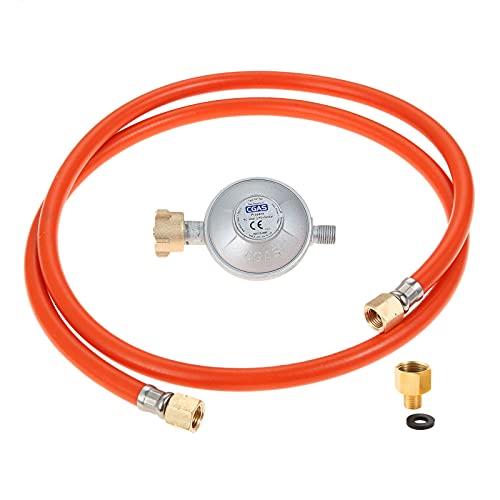 """Gohantee Válvula reductora de presión reguladora de 50mbar con manguera de 1,5 m, conector de diente izquierdo de 1/4 y adaptador de gas, rosca interna de 1/2 """"a rosca externa de 1/4"""" a la izquierda"""
