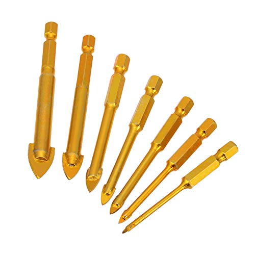 Milling Cutter Bits 7 Golden Spear Bit Set 1/4' Hexagon Shank Drill Bit for Ceramic Tile Glass 3/4/6/8/10/12mm