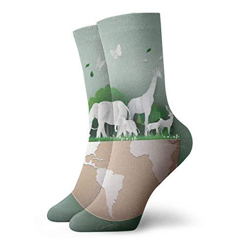 Giornata mondiale della fauna selvatica con l'animale nella foresta unisex moda casual Crew calze girocollo calzini vestito calzini 30 cm