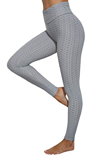 CMTOP Mallas Leggings Mujer Pantalones de Yoga Fitness Cintura Alta Pantalones Deportivos para Running Training Estiramiento Yoga y Pilates (Gris,L)