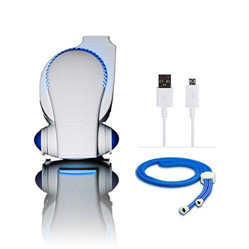 Stroller Fan by Cool On The Go - Bladeless Battery Operated Fan, Personal Fan, Portable Fan, USB Desk Fan   Keep Cool Everywhere (Blue)