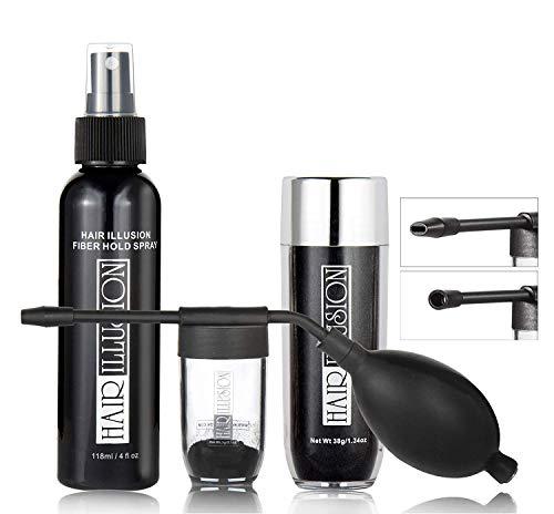 Hair illusion Combo pack kit Inc.38g Black Fibers, Applicator, Holding Spray, Hairline Optimizer