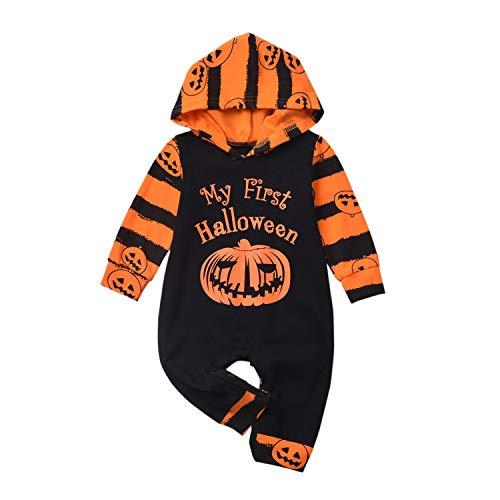 Bowanadacles Pagliaccetto Neonato Neonata Unisex Costume per Halloween con Cappuccio a Maniche Lunghe Stampa di Fantasma e Lettere Divertenti 0-18 Mesi (E, 3-6 Mesi)