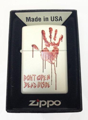 Zippo Custom Lighter - Bloody Dead Zombie Hand 'Dont Open Dead Inside' White Matte Rare! - Gifts For Him, For Her, For Boys, For Girls, For Husband, For Wife, For Them, For Men, For Women, For Kids