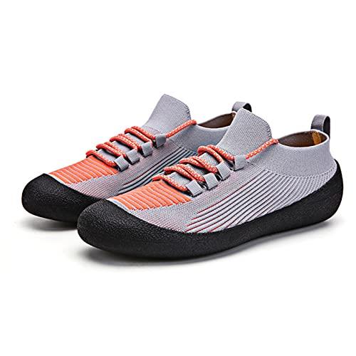 Calcetines y Zapatos de Malla para Hombres y Mujeres, Zapatos Deportivos de Moda Informales de Gran Tamaño,Zapatos de Ciclismo con Punta Redonda de Goma para Ejercicios en Cuclillas,Grey-36