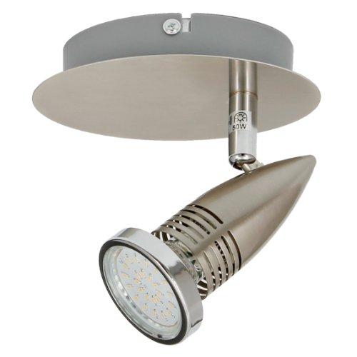 Trango 1-flammig LED Wandleuchte Leselampe Wandspot Strahler Spots Edelstahl-Look inkl. 1x GU10 LED Leuchtmittel TG2005-012